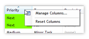 Column Header Context Menu in List View